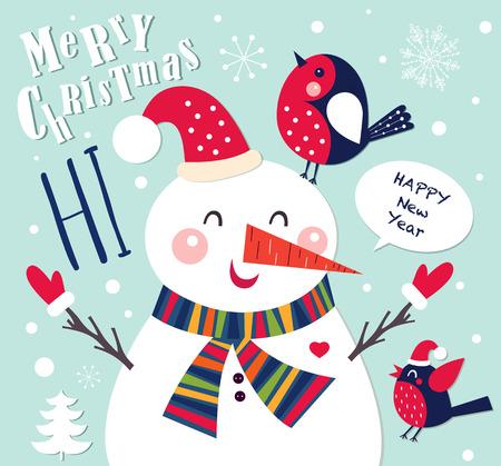 Tarjeta de Navidad con el muñeco de nieve alegre Foto de archivo - 46576672