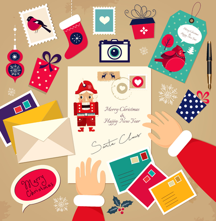nutcracker: Christmas illustration: Congratulations of Santa Claus.