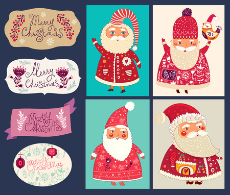 postage stamp: Holiday vector collection with the Santa Clauses for Christmas and New Year decoration