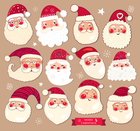 Holiday vector collection with the Santa Clauses for Christmas and New Year decoration