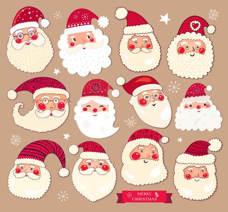 collection: Holiday colección de vectores con las Cláusulas de Santa para la decoración de Navidad y Año Nuevo