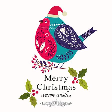 bird illustration: Christmas illustration with bird Illustration