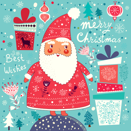 x mas background: Merry Christmas and Happy New Year card with Santa Claus. Illustration