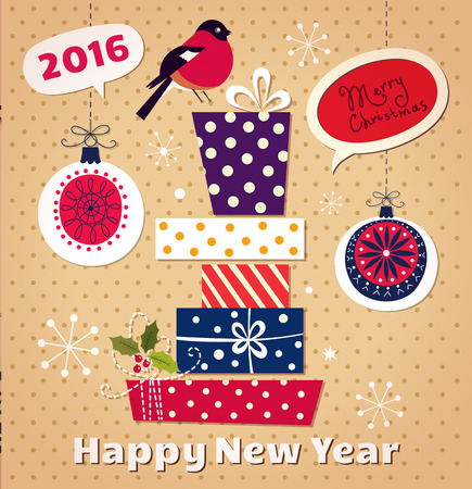 x mas parties: Christmas and New Year vector card with gifts and toys