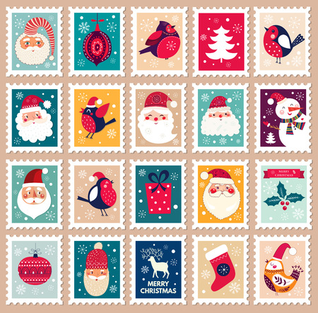 stamp collection: Christmas beautiful cheerful cute stamp with holiday symbols and elements of decoration.