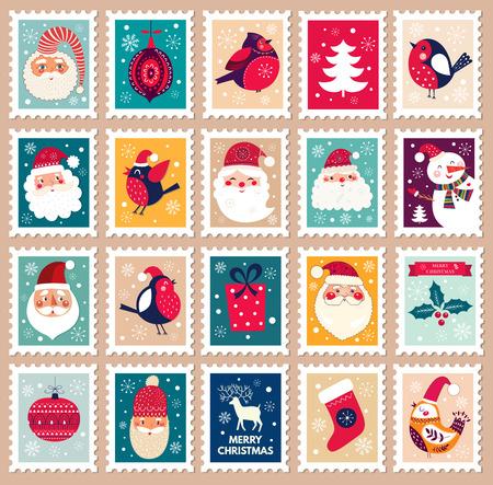 Navidad hermosa sello lindo alegre con símbolos de vacaciones o elementos de decoración. Vectores