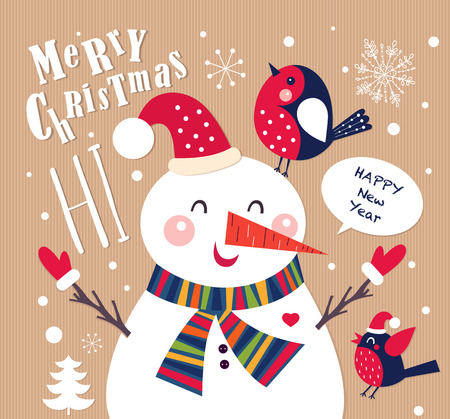 colorful background: Vector Cheerful Christmas card with Snowman
