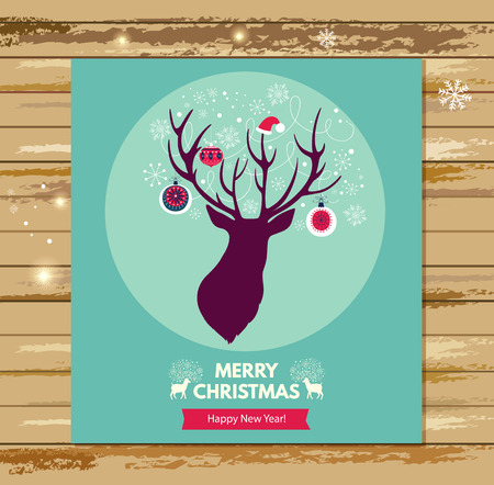 amazing: Christmas vector illustration with beautiful deer