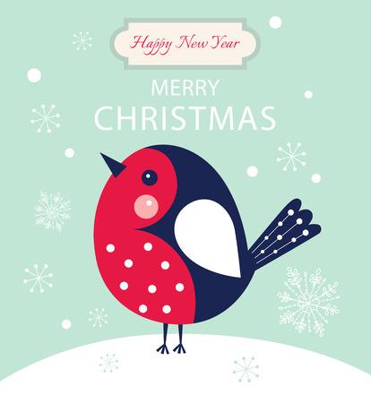 bullfinch: Christmas vector illustration with bullfinch Illustration