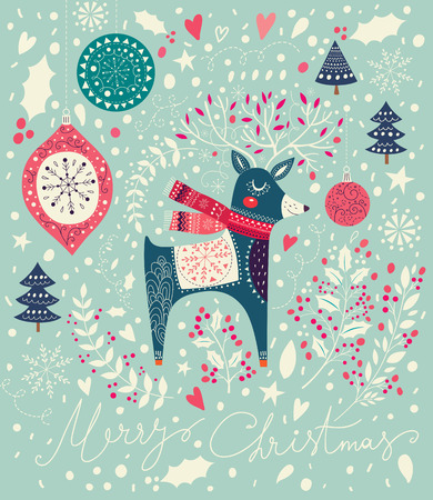 cover background time: Vector Christmas illustration with Adorable Deer