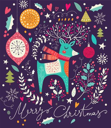 Ilustración vectorial Navidad con adorable ciervos Foto de archivo - 47724222