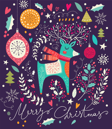 Vector Christmas illustration with Adorable Deer Stock Vector - 47724222