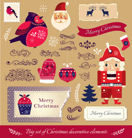 the nutcracker: Collection of decorative traditional elements and symbols on Christmas theme Illustration