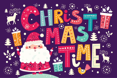 santa claus: Christmas vector postcard with Santa Claus and gifts