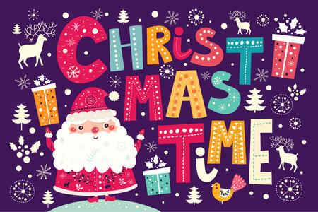 papa noel: Postal del vector de la Navidad con Santa Claus y regalos
