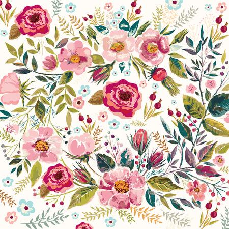 Vintage hand drawn floral background.