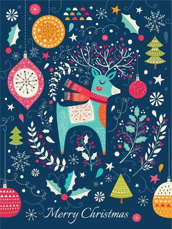 Vector Christmas illustration with Adorable Deer