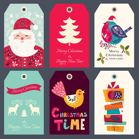 sticker vector: Beautiful greeting tags with Santa Claus, bullfinch and gift boxes.