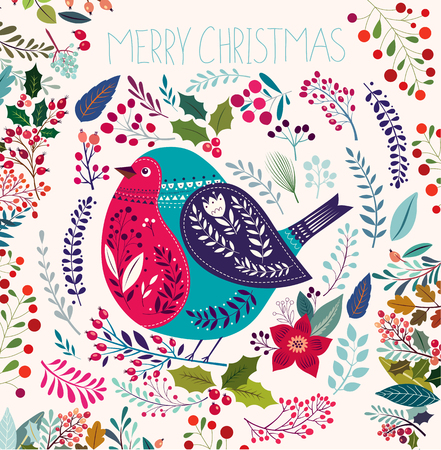 bullfinch: Christmas vector illustration with bullfinch.