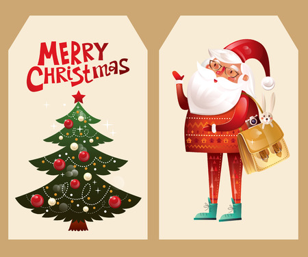 retro christmas: Beautiful tags with Santa Claus and Christmas tree.