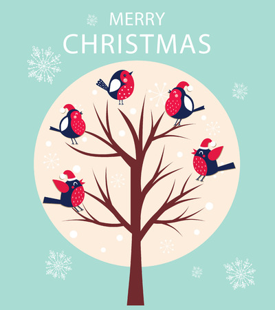 Vector holiday card with Christmas tree and sitting birds.