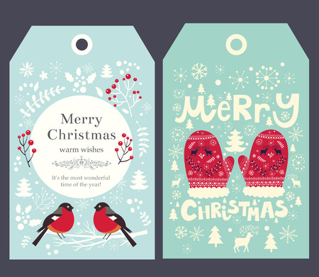 Holiday Christmas vector tags with mittens and bullfinch. Stock Illustratie