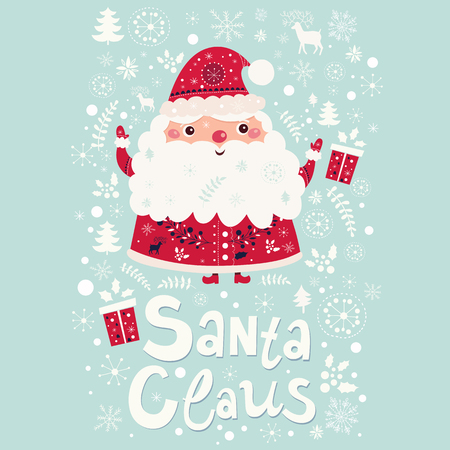 claus: Beautiful greeting card with Santa Claus and gift boxes. Illustration