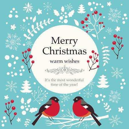 Christmas vector illustration with bullfinches Vettoriali