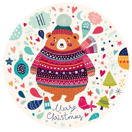 sueter: Navidad ilustración vectorial hermosa con el oso lindo