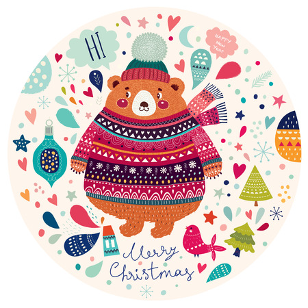 Beautiful vector Christmas illustration with cute Bear