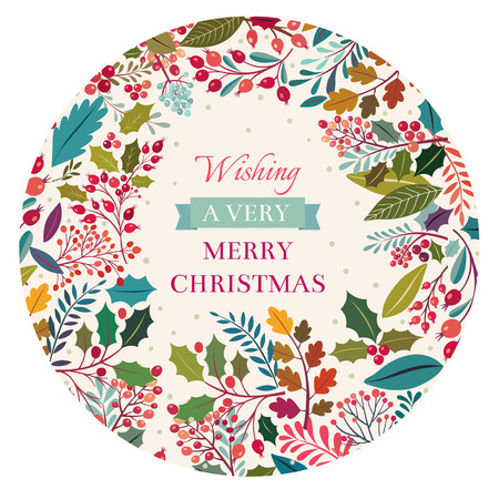 decorative design: Christmas illustration with floral background