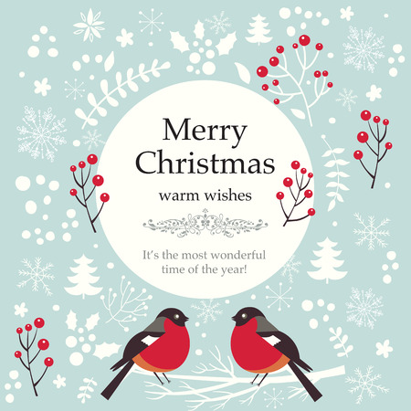 art vector: Christmas vector illustration with bullfinches Illustration