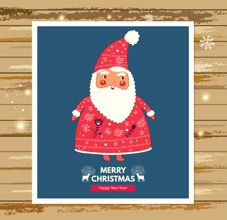 december holidays: Beautiful vector Christmas illustration with cute Santa Claus