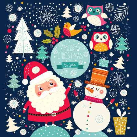 bullfinch: Vector Cheerful Christmas illustration with Snowman and Santa Claus Illustration