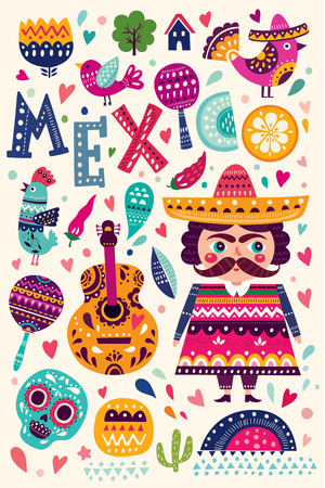 graphic elements: Pattern with symbols of Mexico Illustration