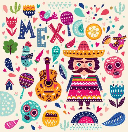 Шаблон с символами Мексики Иллюстрация
