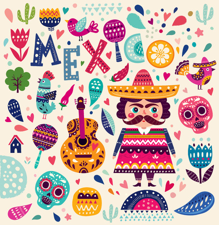 element: Pattern with symbols of Mexico Illustration