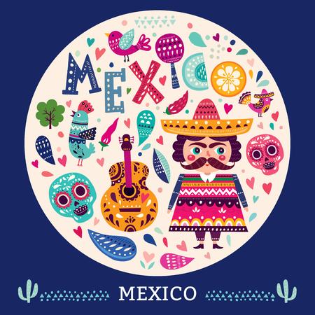 etnia: Ilustración con símbolos de México