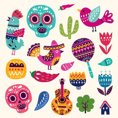 vector symbol: Illustration with symbols of Mexico