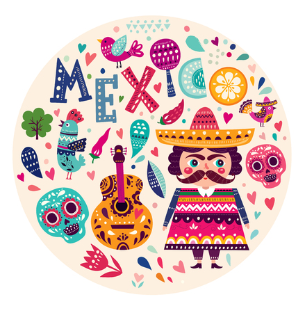 mexican background: Illustration with symbols of Mexico