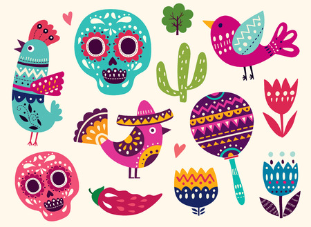 mexico cactus: Illustration with symbols of Mexico
