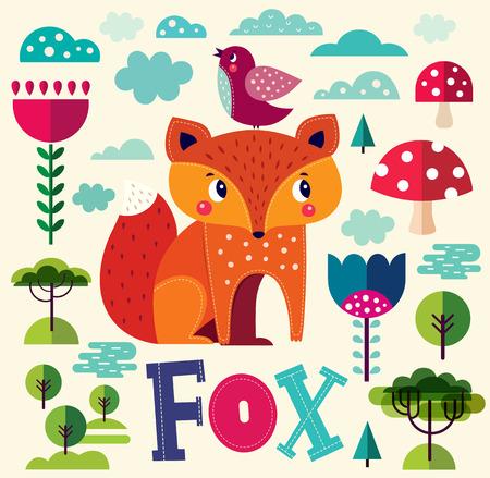Vector cartoon illustration with cute fox