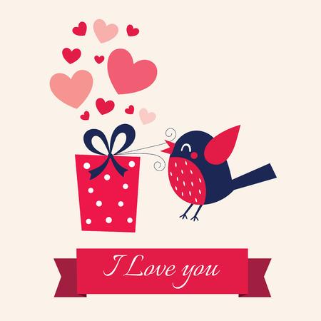 oiseau dessin: jour l'illustration de la Saint-Valentin avec des oiseaux
