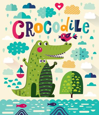 Fun cartoon vector illustration with cute crocodile