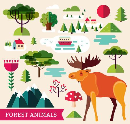 alpine plants: ector illustration with elk and trees Illustration