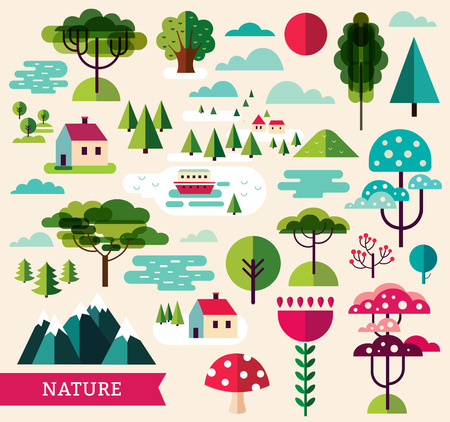 cartoon flower: Vector illustration witht plants and trees Illustration