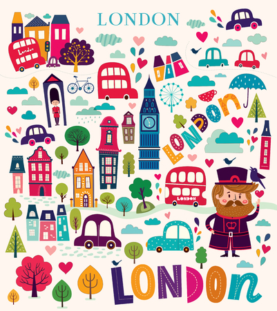 city of london: Illustration with symbols of London Illustration