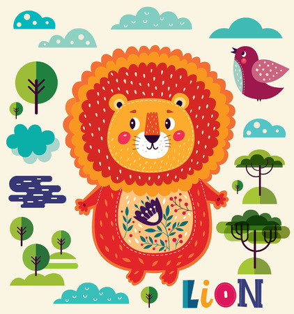 Vector illustration with cute lion