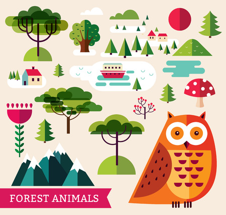sq: Vector illustration with owl and landscape
