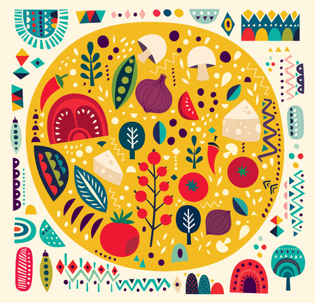 pizza ingredients: Art vector colorful illustration with pizza and other elements Illustration